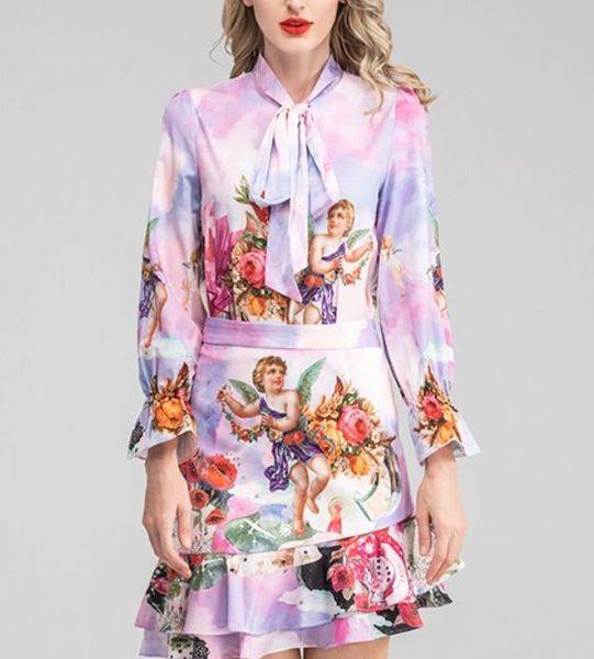 7912 Runway 2020 Floral Cherubs Angels Print Mini Skirt+ Blouse Twinset