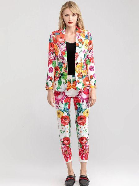 7913 Runway 2020 Floral Print Pants+ Blazer Twinset
