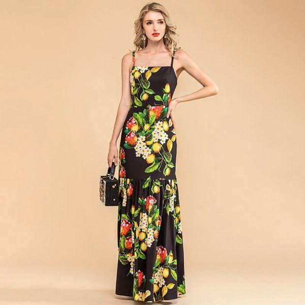 7914 Runway 2020 Lemon Print Elegant Maxi Dress