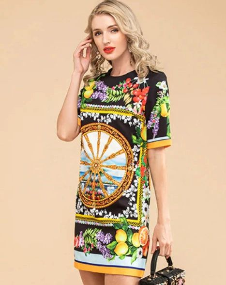 7915 Runway 2020 Lemon Print Elegant Mini Black Dress