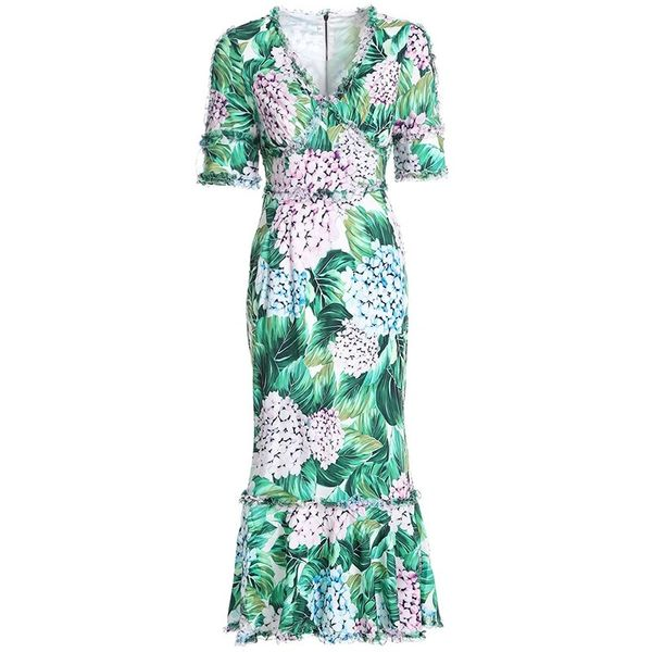 7916 Runway 2020 Hydrangea Print Elegant Midi Dress