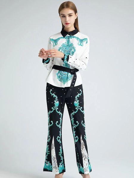 7917 Runway 2020 Floral Print Pants+ Shirt Twinset