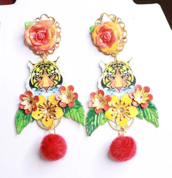 7920 Baroque Tiger Flowers Hand Painted Statement Earrings