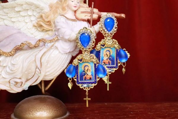 7924 Madonna Virgin Mary Blue Icon Earrings