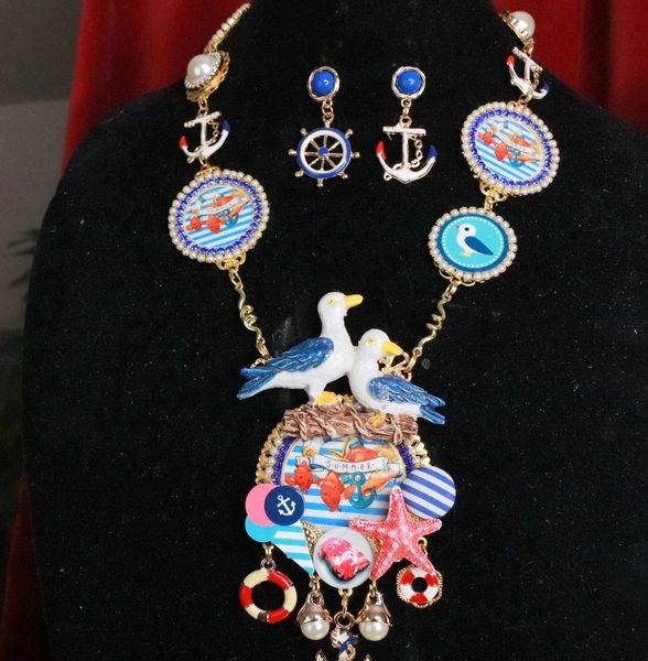 7926 Set Of Nautical Endless Summer Sea Gull Cameo Necklace+ Earrings