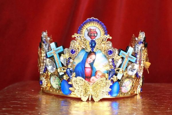 7923 Virgin Mary Madonna Crosses Sacred Heart Cameos Crown Tall Headband
