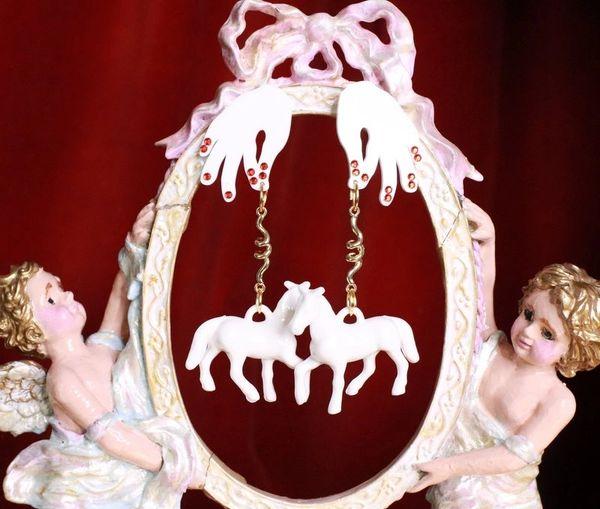 7931 Baroque 3D Effect White Horses Earrings Earrings