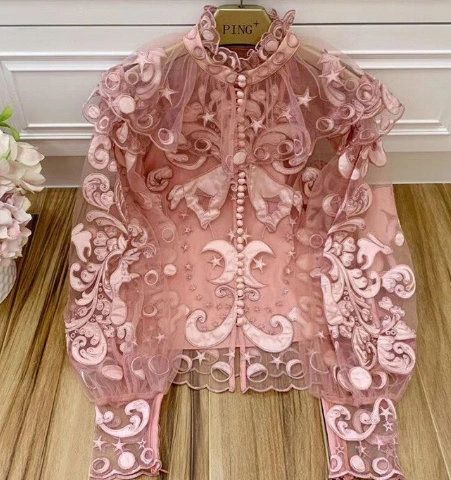 7938 High-End Sheer Embroidery Pink Runway 2020 Top Blouse