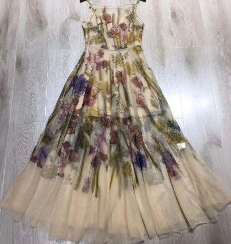 7941 Runway 2020 Floral Sheer Silky Touch Summer Dress