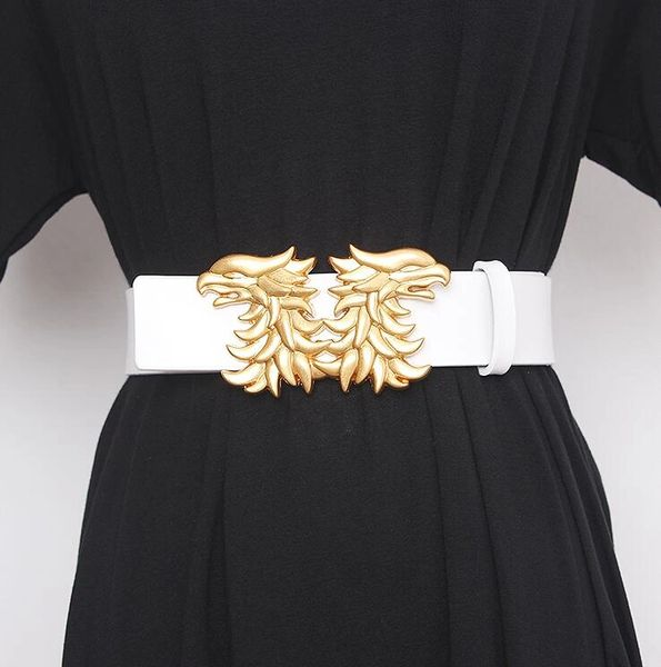 7942 Gold Faced Phoenix Wide Waist Genuine Leather White Belt Size S, L, M