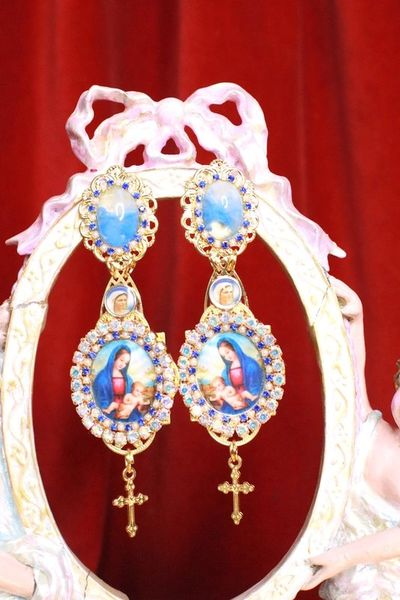 SOLD! 7943 Virgin Mary Blue Light Weight Studs Earrings