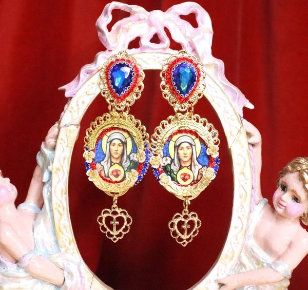 7944 Virgin Mary Blue Light Weight Red Blue Studs Earrings