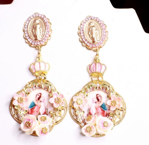 7945 Virgin Mary Madonna And A Child Long Studs Earrings