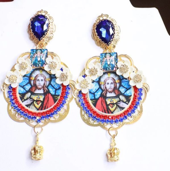 7946 Church Stain Glass Jesus Studs Earrings