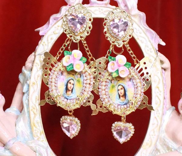 7949 Virgin Mary Madonna And A Child Gold Butterfly Studs Earrings