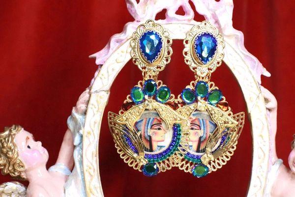 7951 Egyptian Revival Cameo Pharaoh Blue Green Massive Earrings