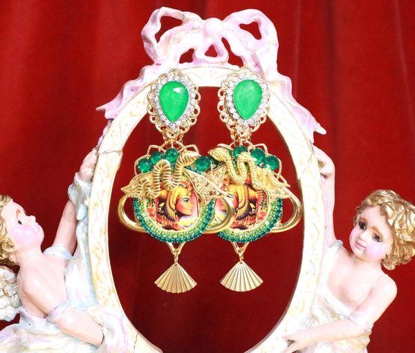 7952 Egyptian Revival Cameo Cleopatra Snake Green Massive Earrings