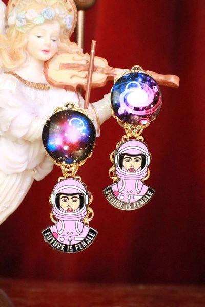 7958 Enamel The Future Is Female Celestial Astronaut Earrings