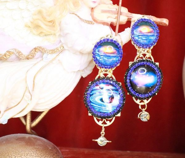SOLD! 7959 Enamel The Future Is Female Celestial Cameo Earrings