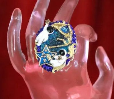 7962 Massive Genuine Agate Stars Astronauts Adjustable Cocktail Ring