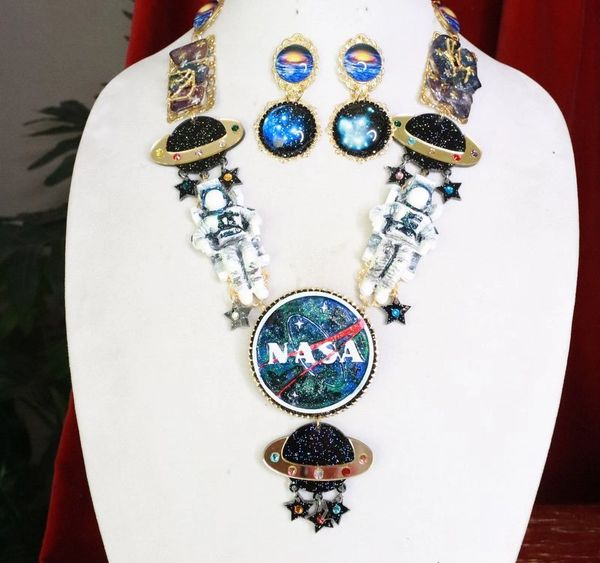 SOLD! 7963 Set Of Celestial NASA Astronauts Iridescent Necklace+ Earrings