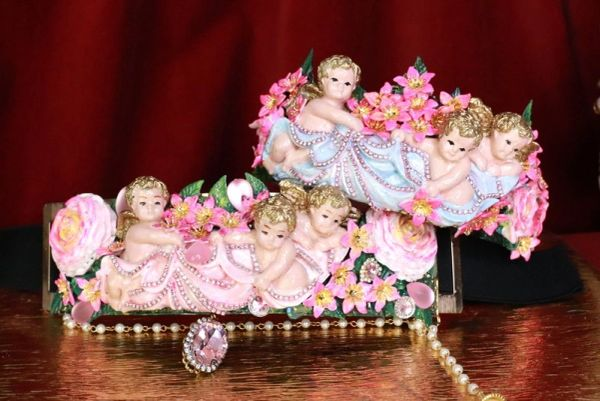 7967 Rococo Bridal Cherubs Angels Flower Blossom Full Tall Crown