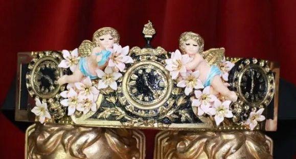 7965 Baroque Vintage Clock Cherubs ANgels Embellished Waist Gold Belt Size S, L, M