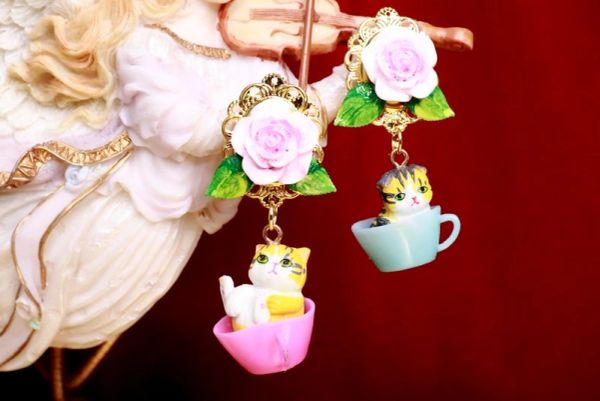 7971 Kitty Cats In a Cup Roses Adorabale Earrings