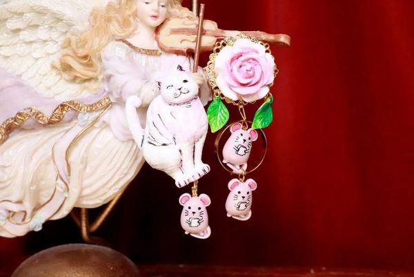 7972 Irregular Cat Mice Rose Hand PaintedEarrings