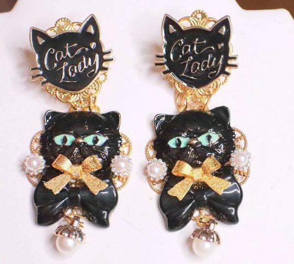 7973 Irregular Enamel Lady Cat Black Earrings