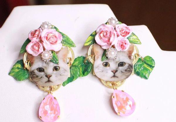 7974 Baroque Cat In Roses Pink Earrings