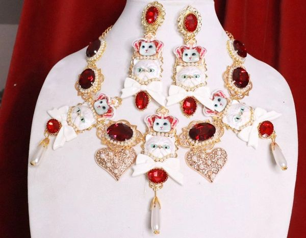 7975 Set Of Baroque Enamel Cats Red Rhinestone Sicilian Necklace+ Earrings