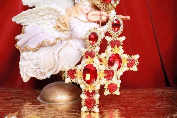 SOLD! 7978 Alta Moda Baroque Huge Filigree Red Hearts Crystal Cross Studs