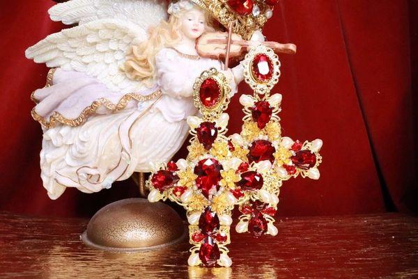7979 Alta Moda Baroque Huge Filigree Red Hearts Crystal Cross Studs