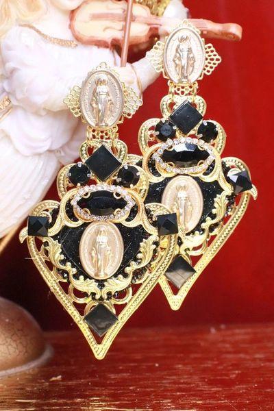 7981 Alta Moda Baroque Virgin Mary Black Huge Filigree Studs