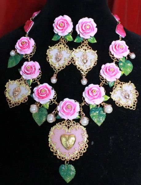 RESERVED 7983 Set Of Baroque Roses Hearts Pearl Necklace + Earirngs