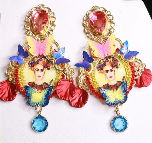 7993 Frida Kahlo Butterfly Colorful Studs