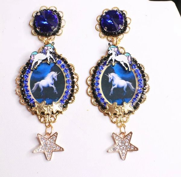 7998 Celestial Unicorn Stars Dark Blue Cameo Studs