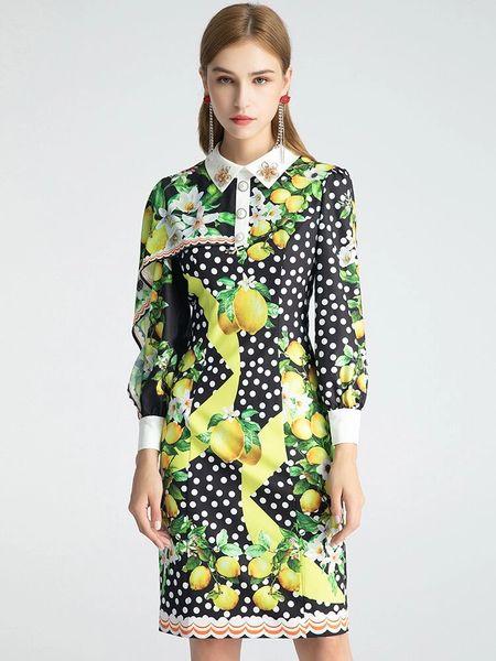 7999 Runway 2020 Lemon Print Polka Dot Lady Like Dress