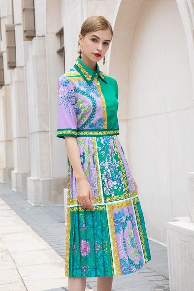 8000 Runway 2020 Baroque Print Pleated Skirt+ Blouse Twinset