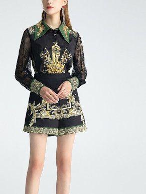 8001 Runway 2020 Baroque Print Shirts+ Blouse Twinset