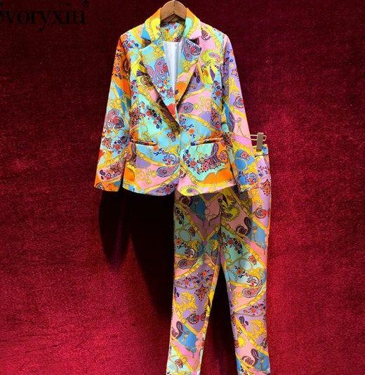 8002 Runway 2020 Baroque Print Blazer+ Pants Twinset