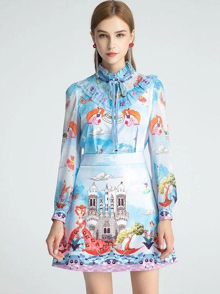 8003 Runway 2020 Novelty Print Blouse + Mini Skirt Twinset