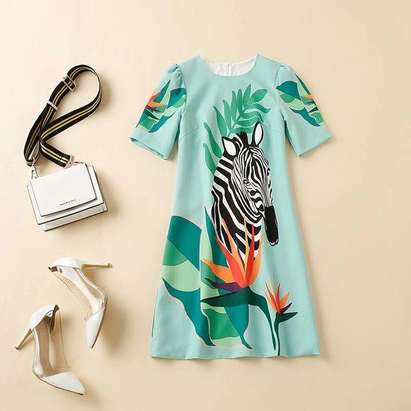 8004 Runway 2020 Zebra Print Mint Mini Dress