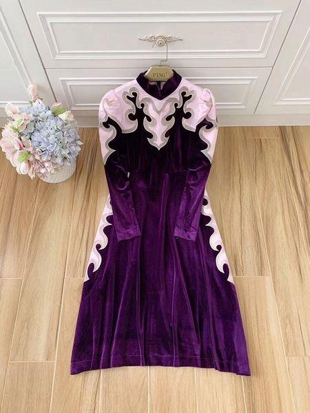 8006 Runway High-End Velvet Embellished Purple Midi Dress