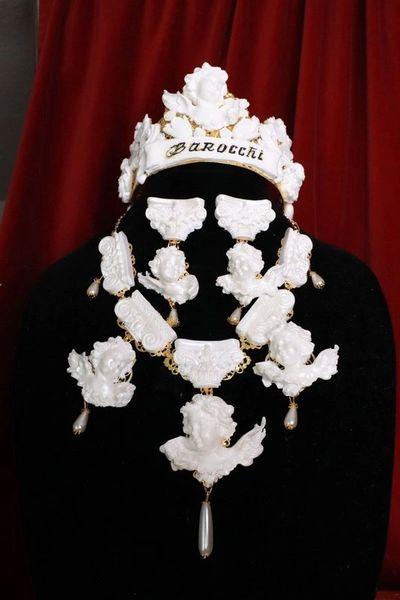 8009 Baroque Runway White Pearlish Architect Chubby Cherubs Angels Roman Column Necklace
