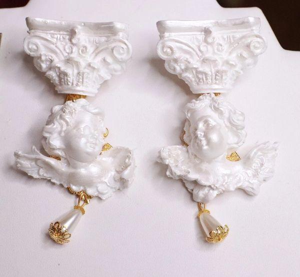 8010 Pearlish Architect Baroque Roman Column White Chubby Cherubs Angels Studs Earrings