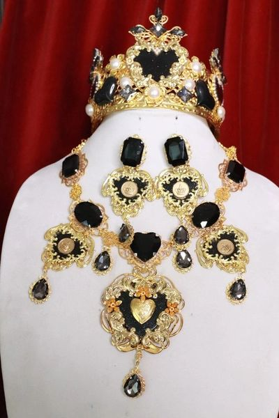 8012 Set Of Baroque Sacred Heart Black Statement Necklace+ Earrings