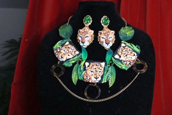 SOLD! 8013 Baroque 3 Leopards Jungle Hand Painted Bib Necklace