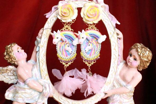 8016 Unicorn Rainbow Roses Hand Painted Studs Earrings